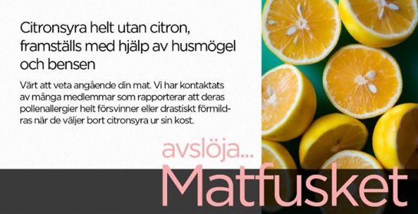 Bli fri från allergier genom att undvika citronsyra